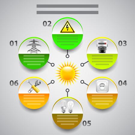電気のインフォ グラフィック。...