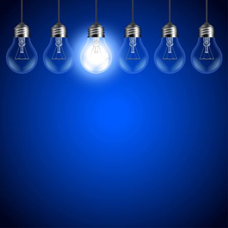 Light bulbs on dark blue background realistic vector background Illustration