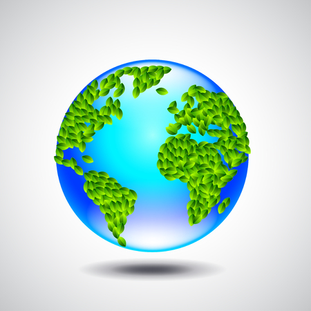 Blue globe, earth from small green leaves, ecology concept vector background