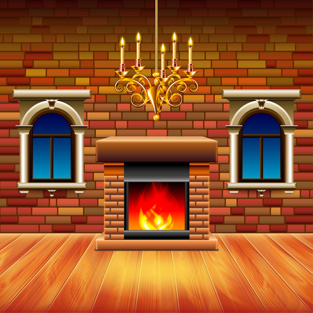 Vintage interior with wooden floor, fireplace and retro chandelier Illustration