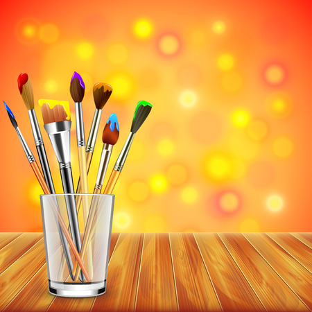 wet wood: Art brushes in glass on wooden table, colorful blur background realistic vector Illustration