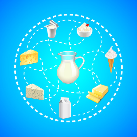 Dairy products in dashed lines circle on blue background vector Illustration