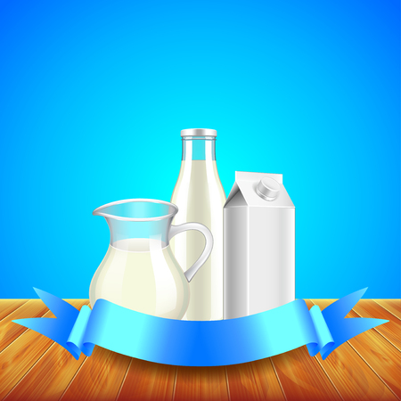 cold storage: Milk with ribbon for text on wooden table, blue background vector Illustration
