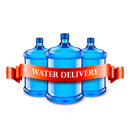 Big bottles and red ribbon, water delivery concept vector background