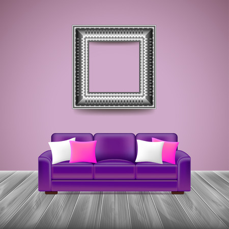 lounge room: Modern interior with purple sofa, grey wooden floor and silver picture frame Illustration