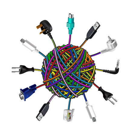 clew: Tangled cables in clew on white background vector