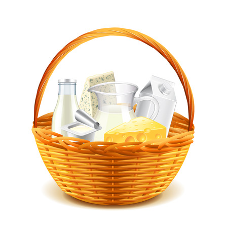 Dairy products in wicker basket isolated on white background vector