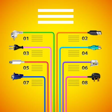 Infographics con i cavi del cavo della spina sul modello giallo di vettore del fondo