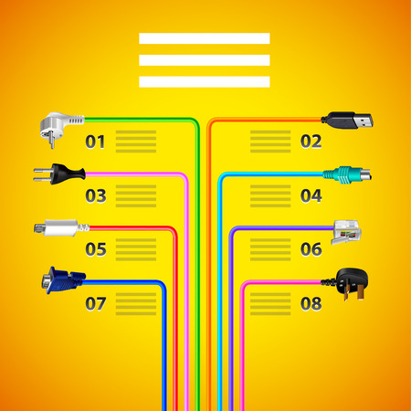 ethernet cable: Infographics with plug wire cables on yellow background vector template