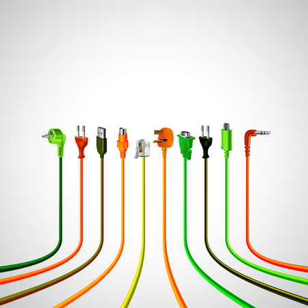 plug in: Colorful plug wire cables in perspective view vector background Illustration