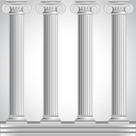 columnas romanas: Columnas romanas aisladas sobre fondo blanco vector realistas Vectores