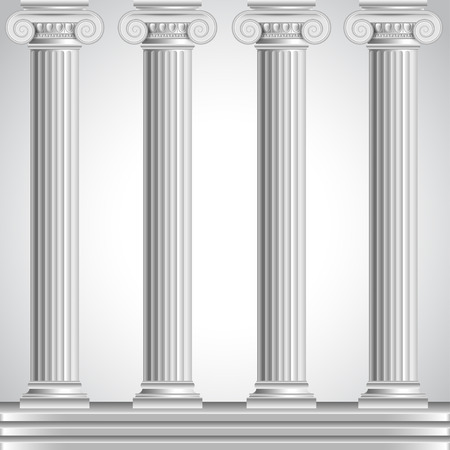 grecian: Roman columns isolated on white background realistic vector