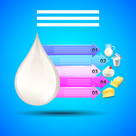 Dairy products infographics with milk drop and arrows vector Illustration