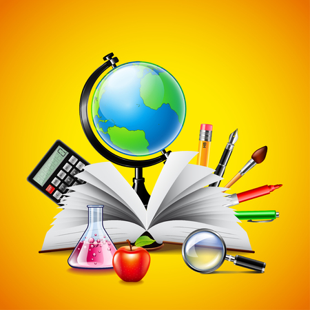 book concept: School concept with opened book, globe and other tools on yellow background Illustration