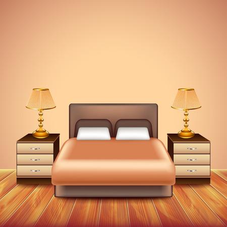 chambre moderne avec grand lit, deux tables et lampes Vecteurs