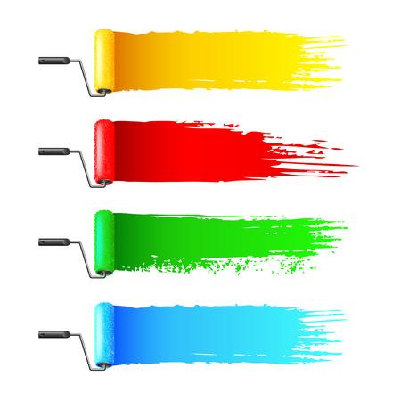 Kleurrijke verfrollen en grunge strepen geïsoleerd op een witte achtergrond