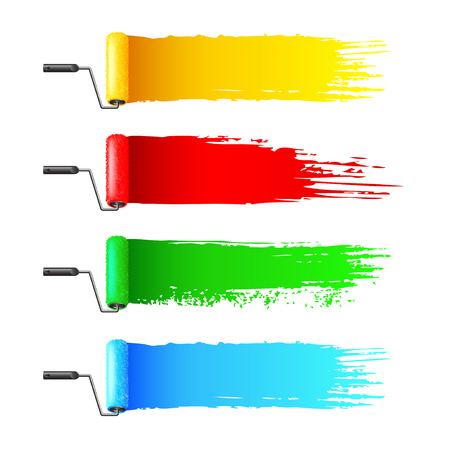 Colorful paint rollers and grunge stripes isolated on white background