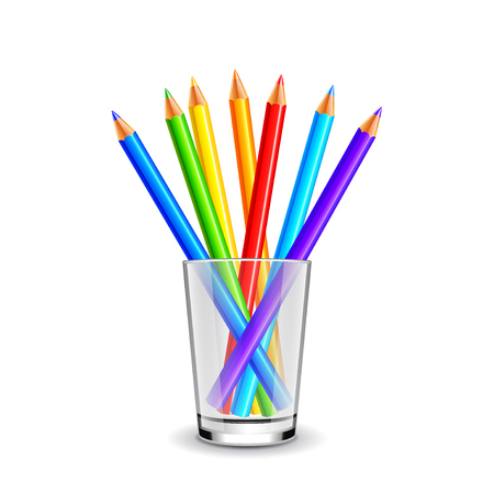 Colorful pencils in glass isolated on white background realistic vector