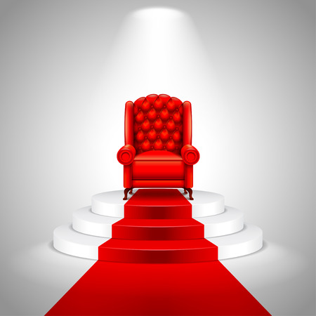 armchair: Royal armchair on stairs with red carpet vector background