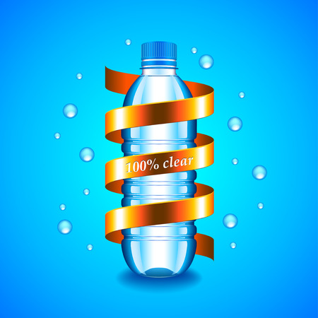 Water concept with plastic bottle and golden ribbon around it, blue background Illustration