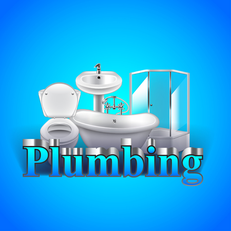 hot seat: Word plumbing and objects on blue background vector Illustration
