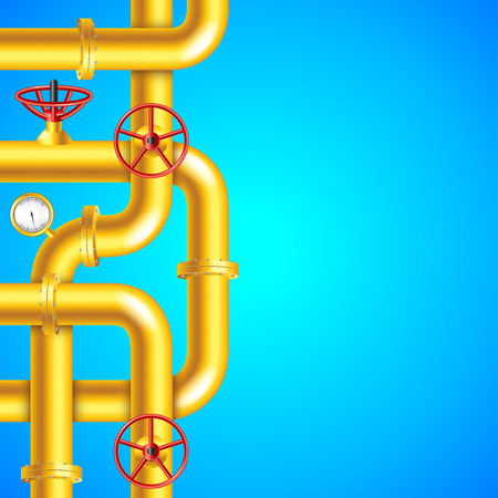 Yellow plumbing pipes on blue background, place for text vector