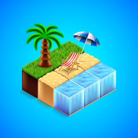 vector chair: Tropical resort concept. Beach with deck chair and palm tree vector