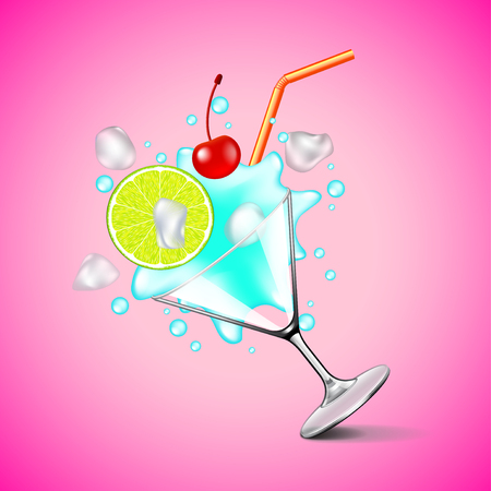 Flying blue lagoon cocktail on pink background vector Illustration
