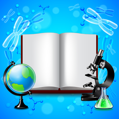 Opened book and science tools on blue background vector