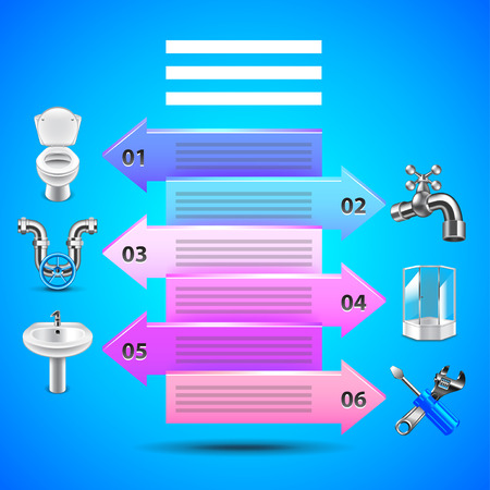 Plumbing infographics with arrows and objects icons vector template Illustration