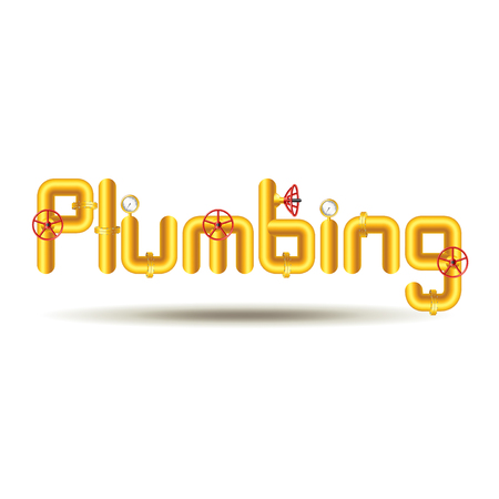 plumb: Word plumbing from yellow pipes isolated on white background vector Illustration