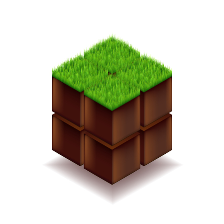 Isometric cube from earth and grass vector background