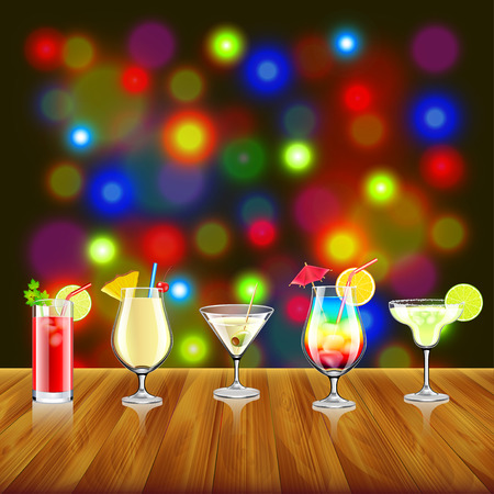 margerita: Cocktails on wooden table and bar lights background vector