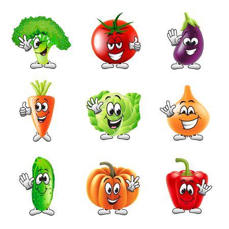 ojos verdes: divertidos iconos vegetales detallados dibujos animados conjunto de vectores realistas