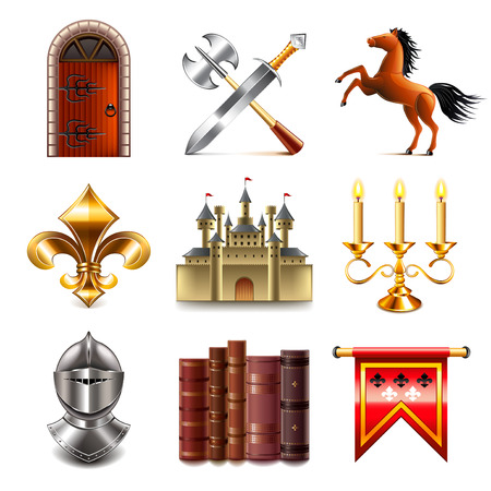 edad media: iconos medievales foto detallada conjunto realista del vector