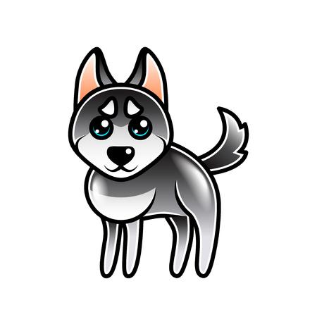 eskimo dog: Cute cartoon husky dog isolated on white vector illustration