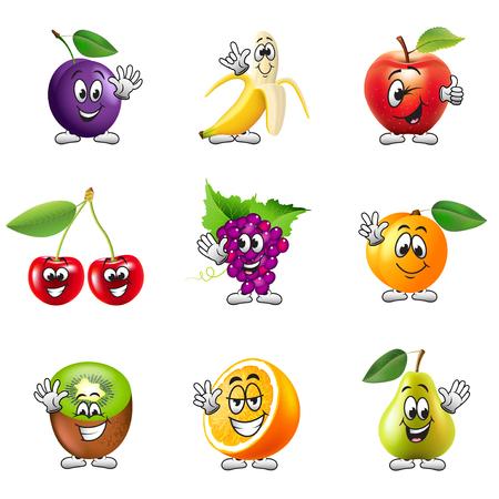 fruit orange: Divertidos iconos de frutas detallados dibujos animados conjunto de vectores realistas
