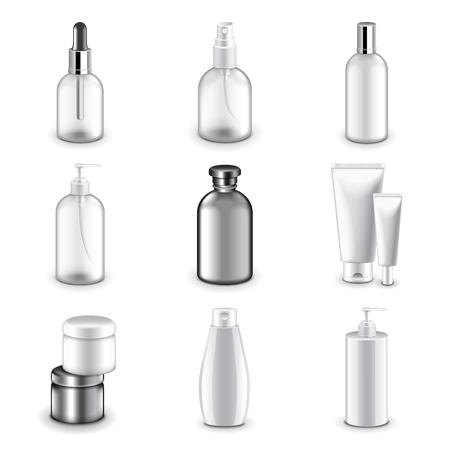 envases plasticos: botellas de cosméticos foto de los iconos conjunto realista del vector