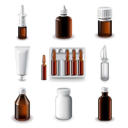 medical bottles: Medical bottles icons detailed photo realistic vector set Illustration