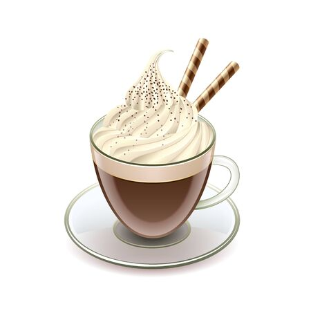 Coffee with icecream Glace isolated on white vector illustration