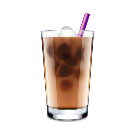 fresh brewed: Ice coffee isolated on white photo-realistic vector illustration Illustration