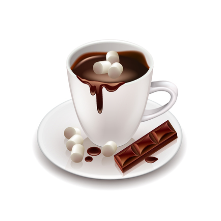 food and drink holiday: Hot chocolate drink with marshmallows isolated on white vector
