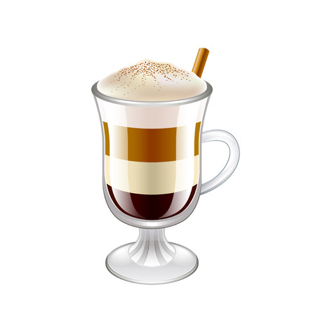 Latte layered coffee drink isolated on white vector illustration