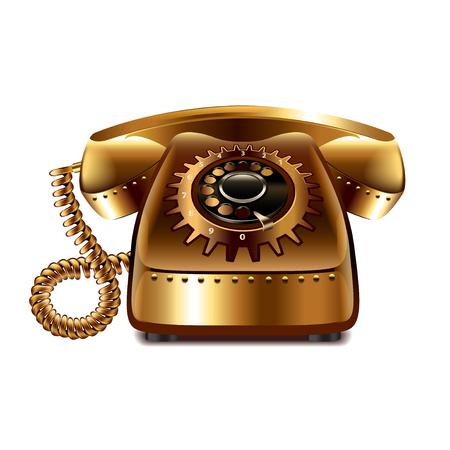 phone isolated: Steampunk retro phone isolated