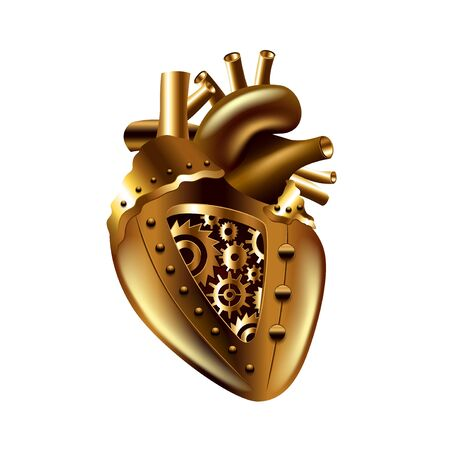 metal parts: Steampunk human heart isolated