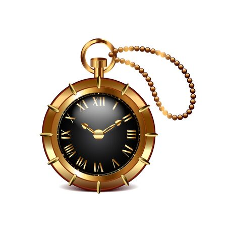 steam iron: Steampunk clock isolated on white