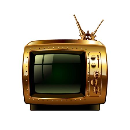 retro tv: Steampunk retro tv isolated Illustration