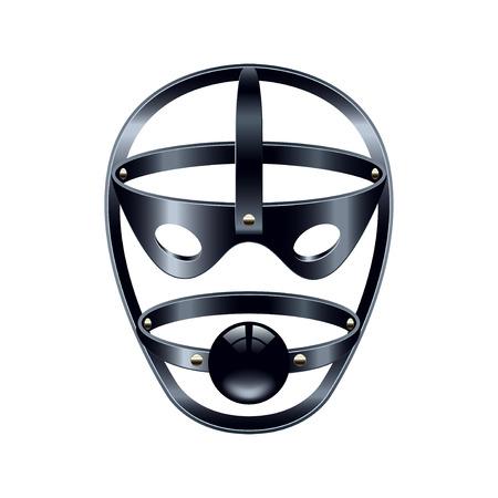 Maschera viso con gag isolato su bianco