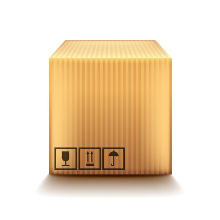 relocating: Cardboard box isolated on white photo-realistic vector illustration Illustration