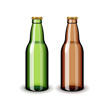 tipple: Two empty glass beer bottles isolated on white realistic vector illustration